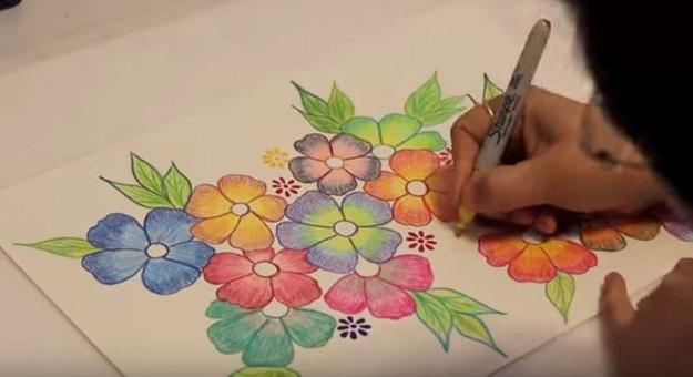 صورة تعلم رسم الورود , رسم الورد بكل سهوله