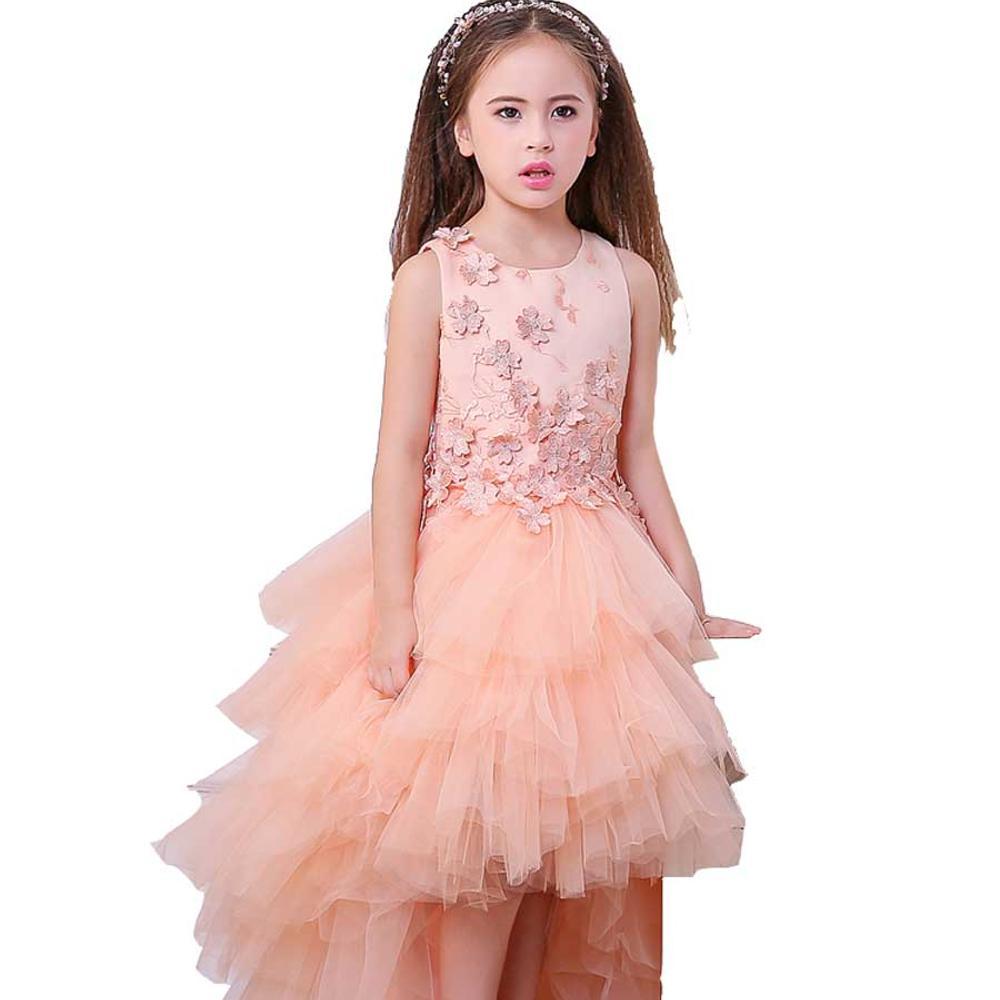 صورة فساتين اطفال قصيرة من الامام وطويلة من الخلف , اشيك وارق فستان لامريتك